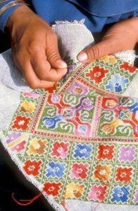 ткань вышивка на сетке шерстью